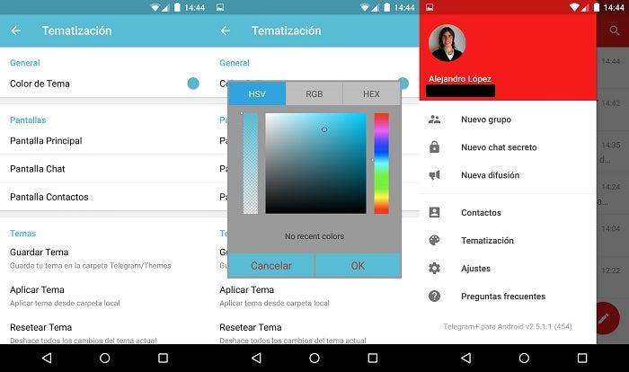 Telegrama + capturas de pantalla